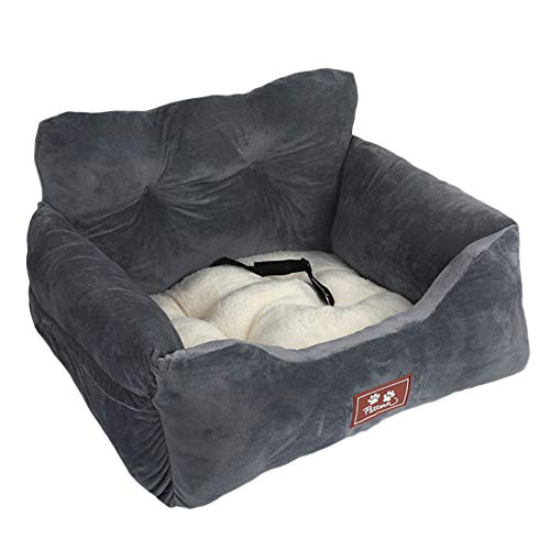 wenyujh 2-in-1 Autositz Bett für Hunde Hundesitz Hundebett wasserfest rutschfest Autokörbchen Hundedecke Hundekorb Sitzerhöhung für Rückbank (60 * 56 * 30, Dunkelgrau)