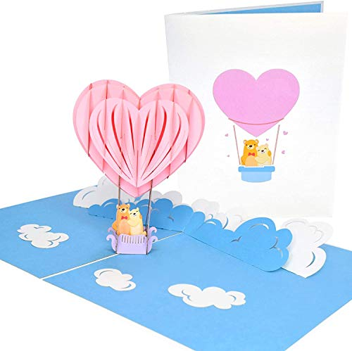 PopLife Cards Globo aerostático y cielo 3d popup tarjeta de felicitación para todas las ocasiones viajeros, padres, amantes de la aventura pliegues planas para correo cumpleaños