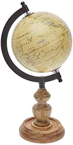Better & Best Bola del Mundo pequeña Beige, con pie de Madera, 12,5 cm, Resina con Papel tratado, 15.00x12.50x26.00 cm