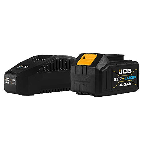 JCB Tools - JCB 20V Lithium-Ion 4.0Ah Battery With Charge Remaining Indicator And 2.4A Fast Charger - For JCB 20V Power Tools, Drills, Saws, Jigsaw, Angle Grinder, Miter Saw, LED Work Light, Recip Saw