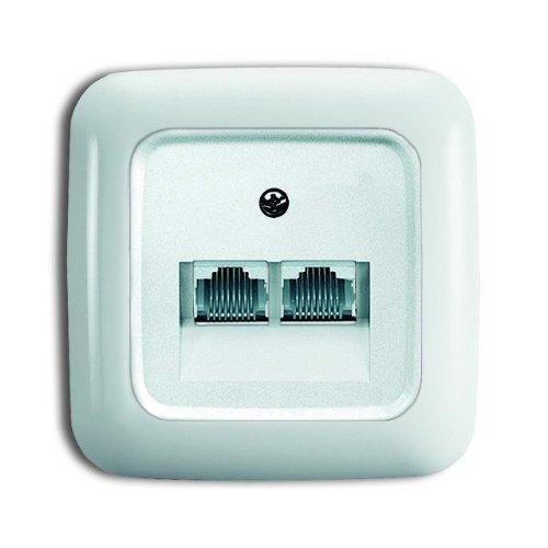 BUSCH-JAEGER Reflex SI Komplett-Sets - Alpinweiß (1xUAE-Cat.6A 2-fach + Abdeckung UAE, 1x Rahmen 1fach)