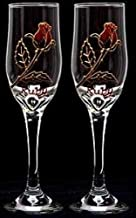 Celtic Glass Designs Set of 2 Hand Painted Champagne Flutes in a Ruby Rose Design.