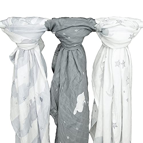 Kids N' Such Extra-Large Muslin Baby Swaddle Blanket, Elephant Dreams, 47 x 47, 3 Pack