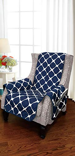 Elegant Comfort Luxury Bloomingdale Pattern Reversible 2-Tones Quilted Furniture Protector/Slipcover with Smart Pockets and Elastic Straps, Great for Pets and Kids, Navy/Gray