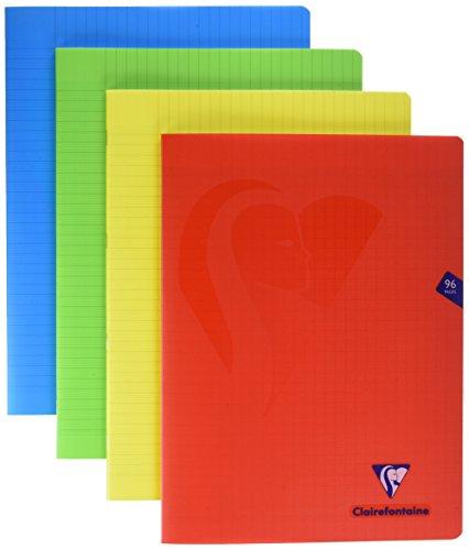 Clairefontaine 293361AMZ - Set mit 4 Heften Mimesys, 48 Blatt, DIN A4+, 24 x 32cm, 90g, französische Lineatur, 1 Set, farbig sortiert