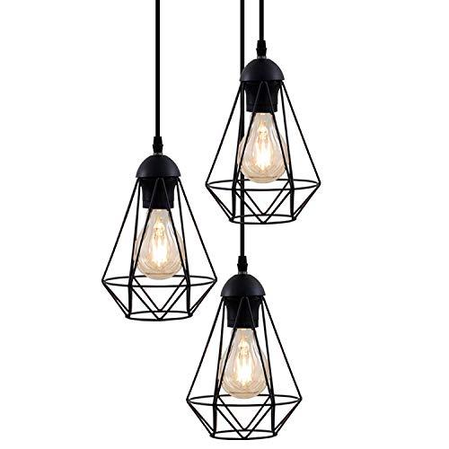 Camera Chandelier 3-luce della lampada a sospensione industriale, E27 zoccolo, lampadina non inclusa Max 40W, altezza totale 1.35m, Vintage luce di soffitto for sala da pranzo, cucina, Black Metal Ret