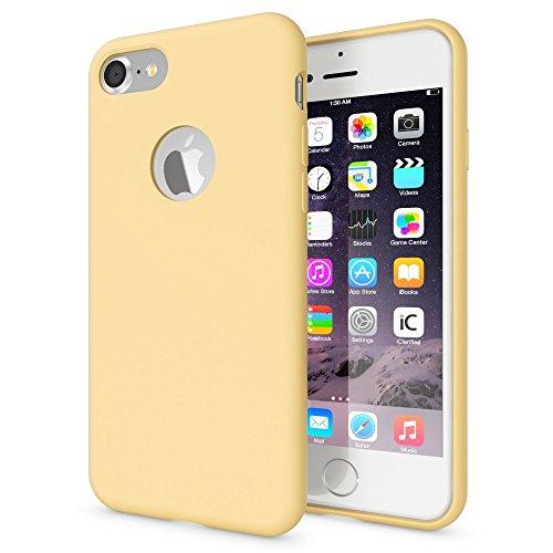 NALIA Liquid Silicone Custodia compatibile con iPhone 7, Cover Protezione Soft-Touch Hard-Case Protettiva Rivestimento Microfibra, Telefono Cellulare Bumper Sottile, Colore:Fresh Yellow