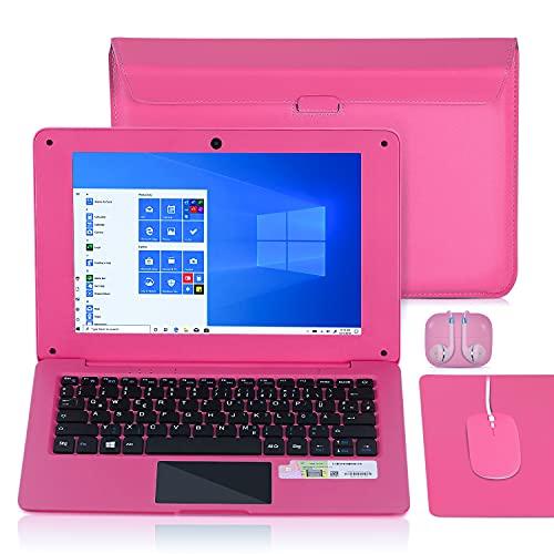 Ordenador portátil de 10,1 pulgadas, Windows 10 Quad Core Netflix, YouTube, WiFi, HDMI, con funda para portátil, ratón, ratón y auriculares, color rosa