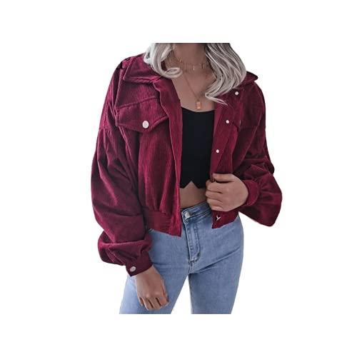 Freizeitjacke für Damen, Herbstkragen, Laterne, langärmelig, Cord, kurze Jacken Gr. 42, burgunderfarben