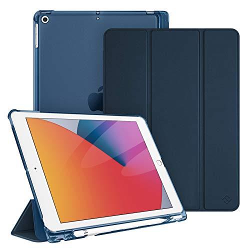 """Fintie Funda para iPad 10,2"""" 2020/2019 con Soporte Integrado para Pencil - Trasera Transparente Carcasa Ligera Función de Auto-Reposo/Activación para iPad 8/7.ª Generación, Azul Oscuro"""