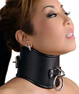 [WALLER PAA] Strict Leather Locking Posture Collar Neck Training Stretching Brace (L)