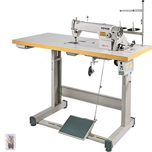 VEVOR Industrial Sewing Machine DDL8700 Lockstitch Sewing Machine with Servo Motor + Table Stand Commercial Grade Sewing Machine for Sewing