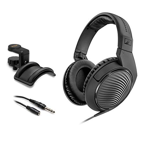Sennheiser HD 200 Pro Monitoring Headphones with Headphone Holder & Stereo 1/4' Male Headphone Extension Cable 10' Bundle