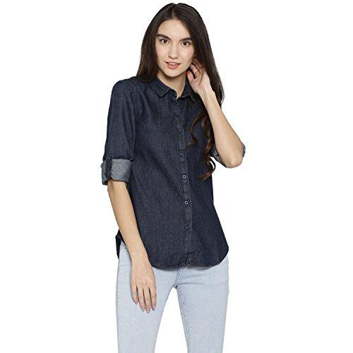 Campus Sutra Women's Denim Casual Shirt(AZ18SHRT_DENIM1_W_PLN_DN_AZ_L)