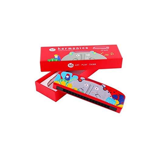 KMDSM Armónica, Música for principiantes, Instrumento musical, Armónica de madera de animales de dibujos animados, Rojo (Color : Red, Size : 14.9 * 2.5 * 4.5cm)