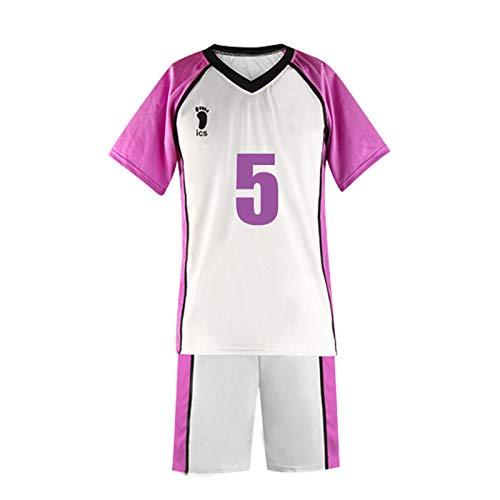 YZJYB Haikyuu Cosplay Disfraz De Mujer Tendo Satori Camisa Conjunto De Pantalones Cortos Shiratorizawa High School Volleyball Club Jersey Uniforme Conjunto,Large
