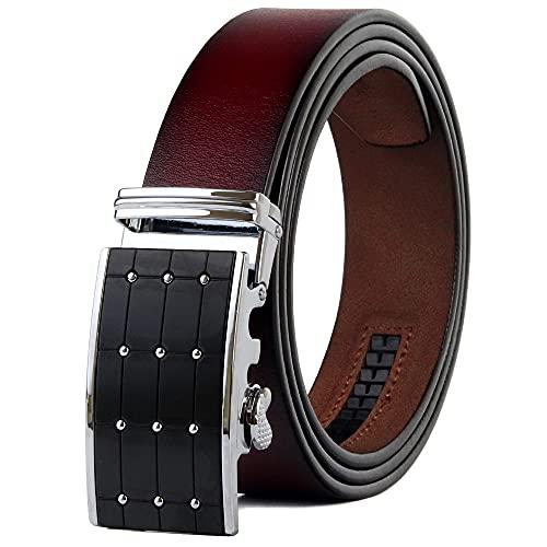 HUMINGG Cinturón Cuero Hombre Cinturones Hombres Vino Rojo Vintage Cinturón de Vaquero para Jeans de Moda Aleación automática de Hebilla (Color : Wine Red, Size : 115CM)