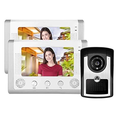 Videoportero, Kit de Intercomunicador HD de 7 Pulgadas Sistema de Monitor de Intercomunicador de Entrada con 12 Sonidos de Acordes (Color : Silver, Size : 235x135mm)