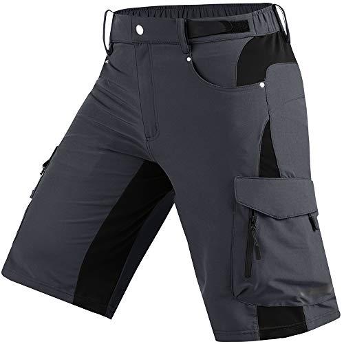 Cycorld - Pantaloncini da mountain bike da uomo, vestibilità morbida, con tasche con cerniera, per mountain bike, pantaloni leggeri (grigio scuro, grande)