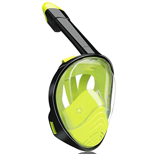 QingSong Full Face Snorkel Mask, Snorkeling Set with Camera Mount, 180 Degree Panoramic View Anti-Fog Anti-Leak, Snorkeling Gear for Adults