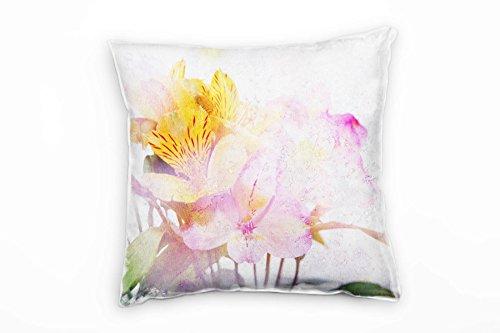 Paul Sinus Art bloemen, oranje, roze, groen, filter, onscherpte, licht decoratief kussen 40x40 cm voor bank bank bank lounge sierkussen - decoratie om je goed te voelen
