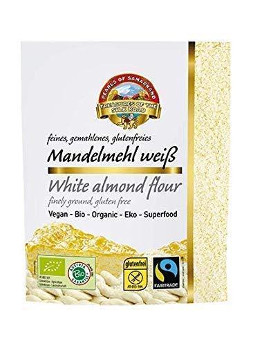 Bio weißes Mandelmehl blanchiert 1,5 kg Fairtrade, natur nicht entöltes Mandelpulver, Mandelproteinpulver weiße Mandeln fein gemahlen gerieben glutenfrei 10x150 gr