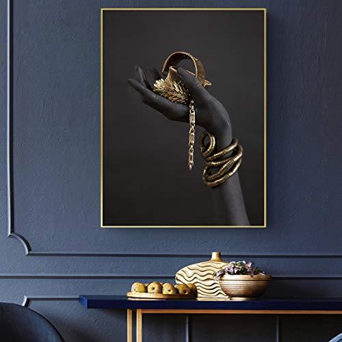 NFXOC Carteles e Impresiones en Lienzo Dorado y Negro Pintura Africana en Lienzo Impresión en giclée Impresiones en Lienzo Decoración (70x90cm Sin Marco