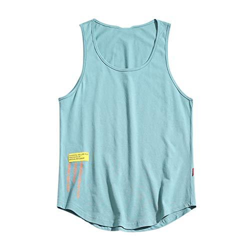 Yowablo Herren Tank Top Tanktop Tankshirt Ärmellos Bodybuilding Shirt Unterhemd T-Shirt Muskelshirt Achselshirt Schnell trocknend (5XL,Hellblau)