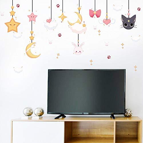 Maan sterren schattig konijn kat muur Stickers veranda Kids kamer kast bank TV achtergrond muur decoratie muur Stickers