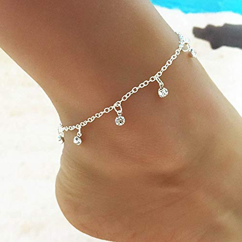 Jovono Crystal Tassels Anklets Boho Anklet Bracelets Beach Foot Jewelry for Women and Girls (Silver)