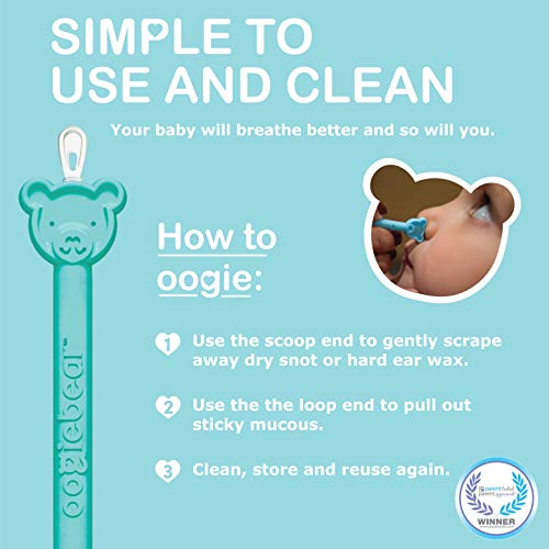 oogiebear - PATENTED curved loop and scoop - The Safe Baby Nasal Booger and Ear Cleaner - Baby Shower Registry Essential | Easy Baby Nose Cleaner Gadget for Infants and Toddlers | Dual Earwax Snot Removal - Blue, Single