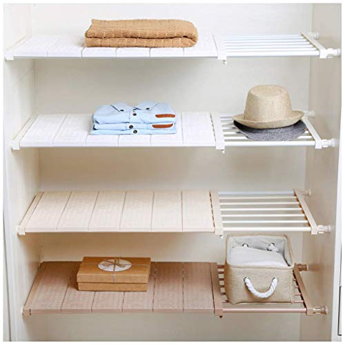 HyFanStr Adjustable Storage Rack Expandable Separator Shelf for Wardrobe, Cupboard, Bookcase Compartment Collecting (Length:13'-20.8', Width:16.5', White)