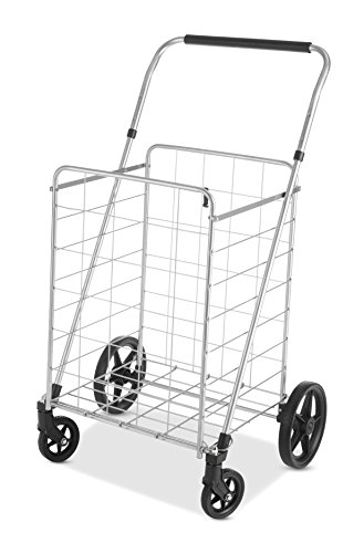 Whitmor Utility Cart with Adjustable Height Handle - Silver/Black