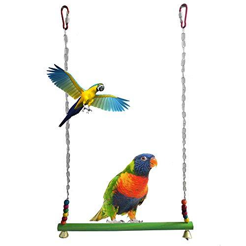 DEDC Pollo Altalena in legno naturale smerigliato colorato giocattolo per galline fatte a mano per uccelli altalena uccelli giocattolo per grandi ucce