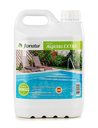 Flonatur Algicida 5 litros Antialgas Larga duración con Efecto abrillantador no espumoso, Elimina Algas de Piscinas, spas, jacuzzis, Fuentes, Piscinas de plástico (1 Envase 5L)