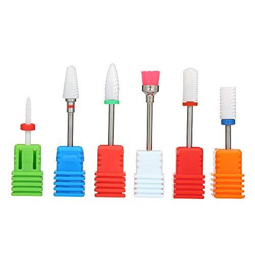 Anself 6Pcs Ceramic Nail Drill Bits Rotary Polishing Grinding Heads Manicure Pedicure Nail Art Tool