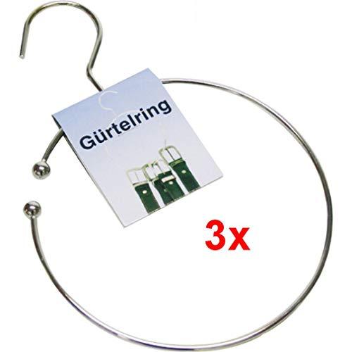 3 Gürtelringe Ø 14cm Krawattenhalter mit Haken für den Kleiderschrank