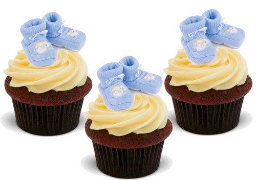 KLEINER JUNGE BLAUE BABYSCHUHE - 12 essbare hochwertige stehende Waffeln Kuchen Toppers - BABY BOY BLUE BOOTIES
