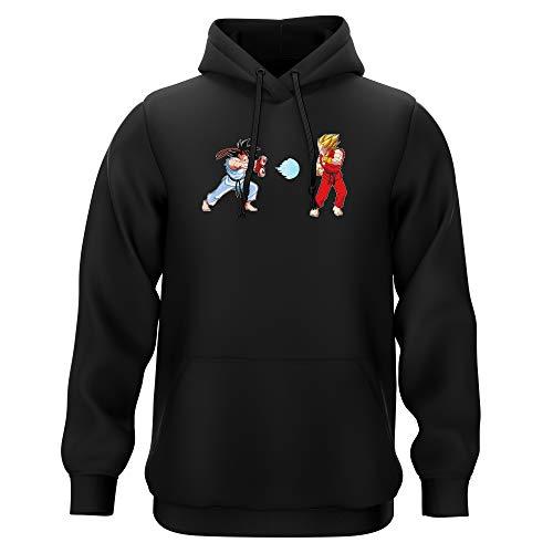 Okiwoki Sweat-Shirt à Capuche Noir Parodie Dragon Ball Z - Street Fighter - RYU, Ken Sauce Sangoku et Vegeta - Kamehamehadoken !!! (Sweatshirt de qualité Premium de Taille M - imprimé en France)