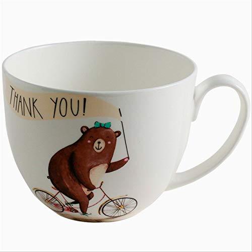 GFHTH Kaffeetassen 600 Ml Cartoon Niedlichen Bären Gedruckt Keramik Kaffeemilch Becher Große Kaliber Kaffeemilch EIS Obst Haferflocken Saft Tasse GeschenkeFahrrad