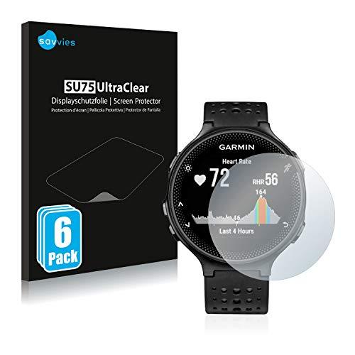 savvies Protector Pantalla Compatible con Garmin Forerunner 235 (6 Unidades) Pelicula Ultra Transparente