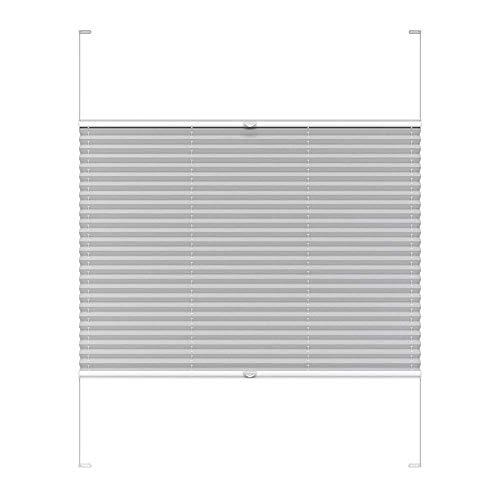 Victoria M. COSIFLOR Plissee auf Maß VS2 für Fenster und Türen, 301-400 mm Breite x 301-400 mm Höhe, Grau, Montage in der Glasleiste mit Spannschuh