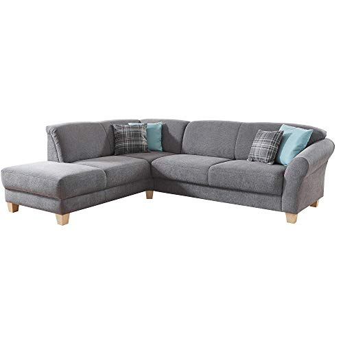 CAVADORE Ecksofa Gootlaand / Große Couch im Landhaus-Stil / Mit Federkern-Polsterung / 257 x 84 x 212 / Grau