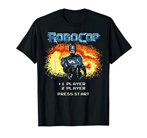 Official RoboCop Video Game Start Menu T-shirt, Black or Naby for Men or Women