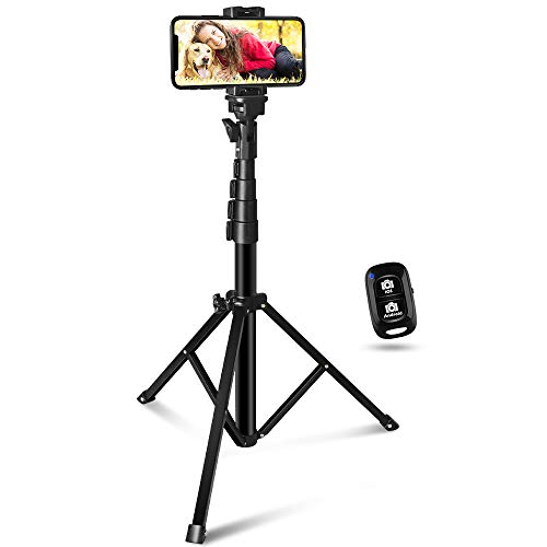 60-inch Selfie Stick Tripod, UBeeszie Extendable Cell Phone Tripod Stand with Wireless Remote Shutter, Compatible with All Phones, DSLR, Action Camera.