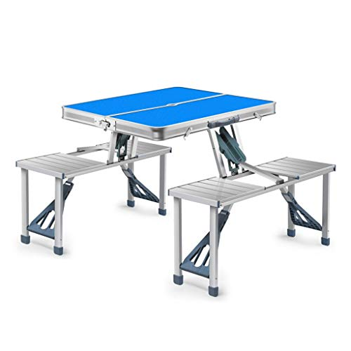 Réglable Table D'extérieur Portable Ultra Légère En Alliage D'aluminium Hauteur Table Pliante Tabouret À Manger Pique-Nique Camping Barbecue Table Pliante (Color : Blue)