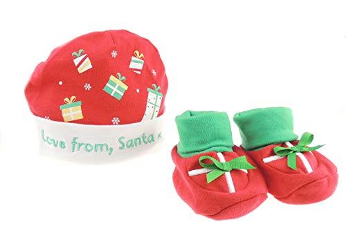 Glamour Girlz Red Baby Girls Boys Gorro de algodón y botines Calcetines Love from Santa Presents Set de regalo recién nacido hasta 6 meses