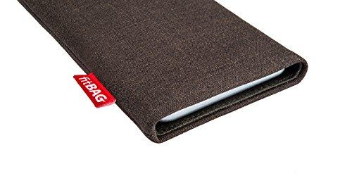 fitBAG Jive Braun Handytasche Tasche aus Textil-Stoff mit Microfaserinnenfutter für Huawei Ascend Mate 2   Hülle mit Reinigungsfunktion   Made in Germany - 3