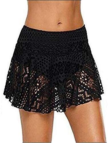 Ocean Plus Mujer Elegante Falda de Baño de Ganchillo con Falda Interior Bikini Falda de Encaje de Gran Tamaño Falda de Playa (XXL (EU 42-44), A-Negro)