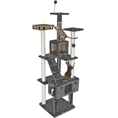 Furhaven Pet Cat Tree - Tiger Tough Cat Tree House Condo Entertainment Playground Furniture for Cats and Kittens, Double Decker Playground, Silver Gray